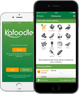 mobile phone with kafoodle app